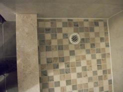 Shower Floor Tile/ Plumbing/ Marble Threshold