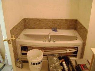 Bathtub tile surround to match shower